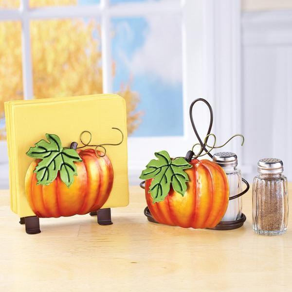 This Delightful Accessory Set Features Beautifully Hand Painted Dimensional Metal Pumpkins The Napkin Holder Featu Harvest Decorations Pumpkin Metal Pumpkins