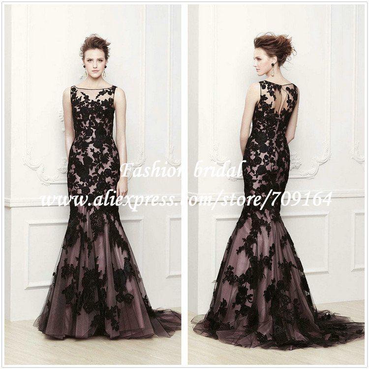 Black and White Mermaid Wedding Dresses Elegant Lace Tank TH1390 on ...
