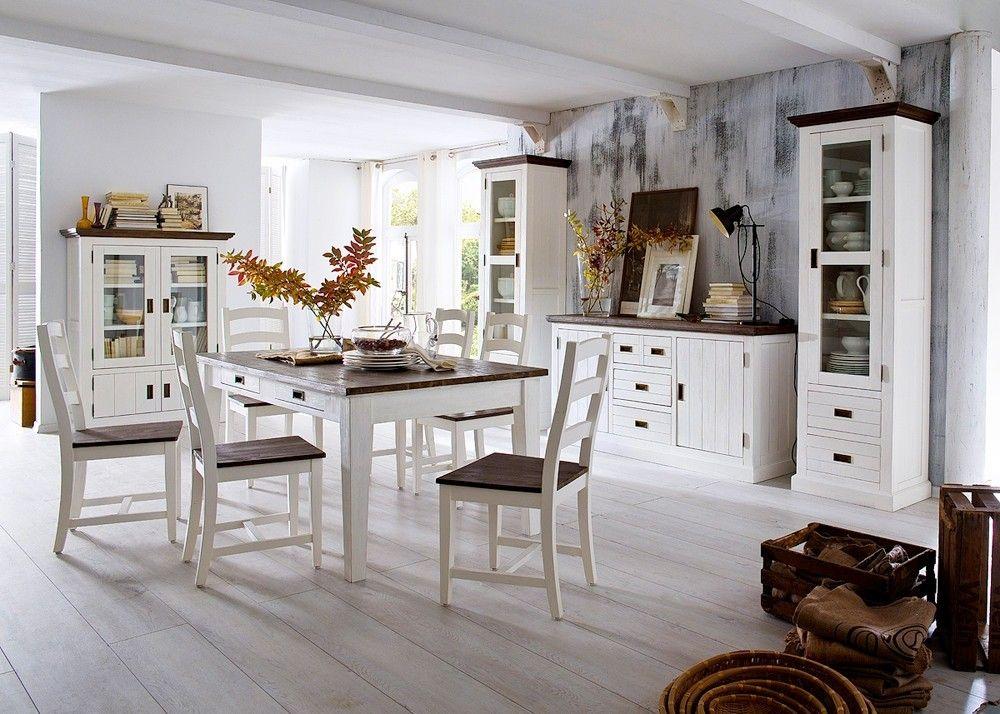 Esszimmer Landhaus Clement Landhausmöbel Weiß Holz Akazie massiv ...