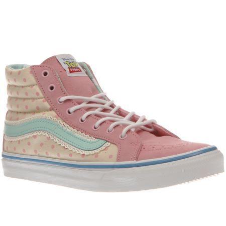 womens vans white   pink sk8-hi slim toy story bo peep trainers ... 744085e47
