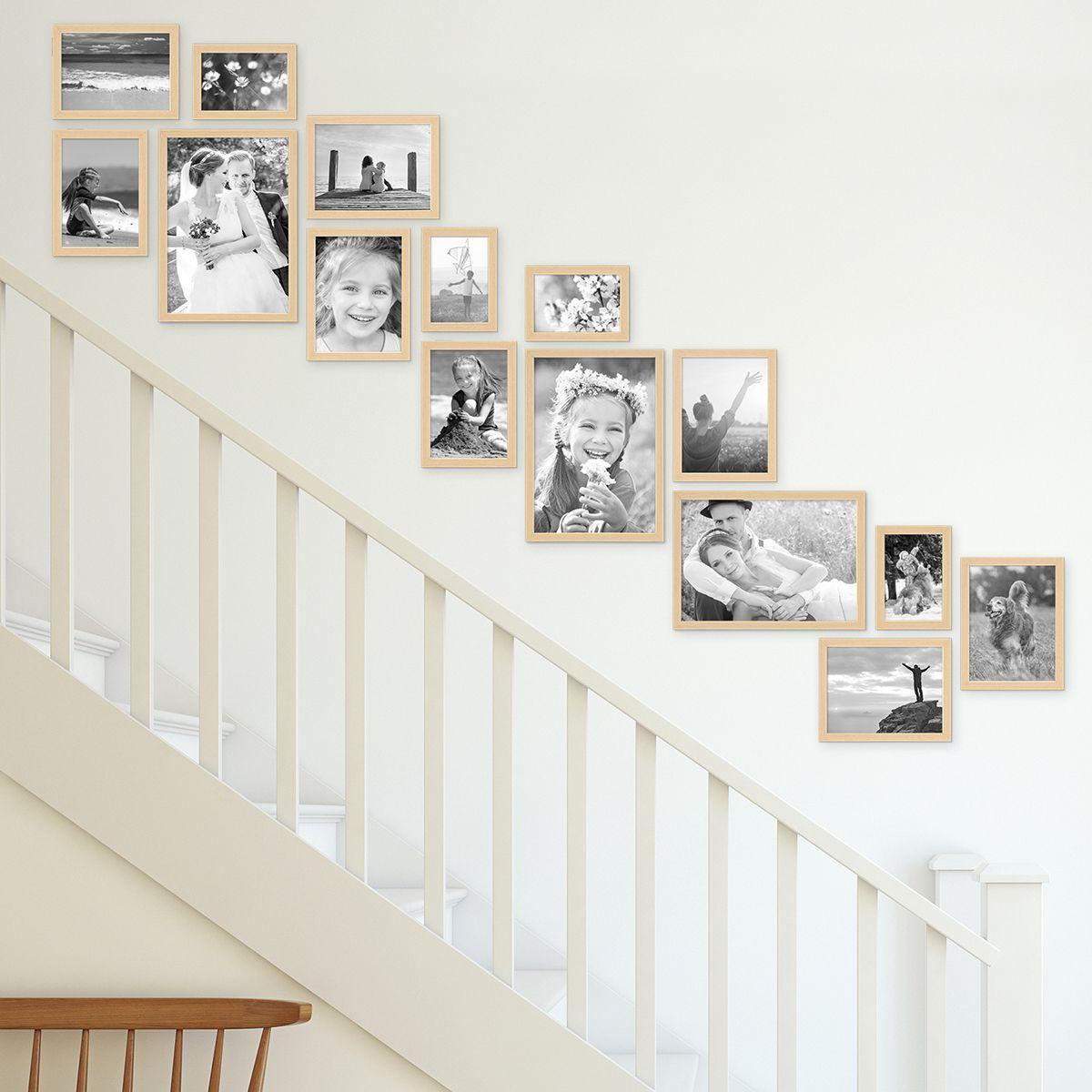 Bilderwand Treppe Modern Natur aus MDF 15er Bilderrahmen-Set für Treppenhaus / Treppenaufgang Bilderrahmen-Sets 14er und mehr