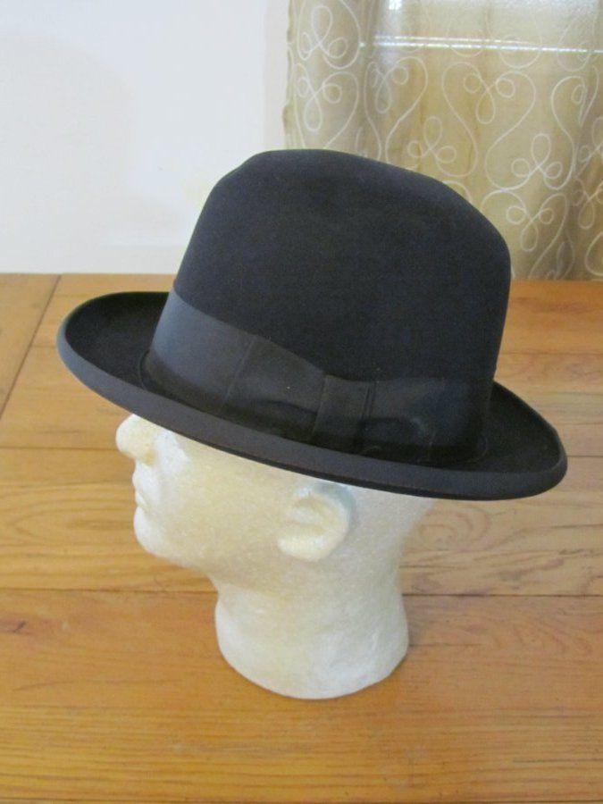 7b7674251e54a Vintage c 1940 50s STETSON Homburg Fedora Black Hat Royal de luxe St Regis 7  1 8  Fedora