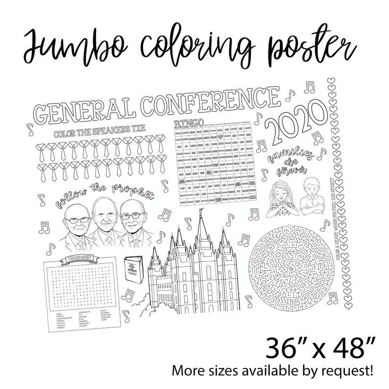 Lds General Conference Activity Coloring Sheet Table Top Etsy In 2020 General Conference Activities Lds General Conference Activities General Conference
