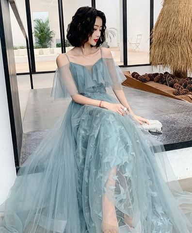Unique gray tulle long prom dress, gray evening dress