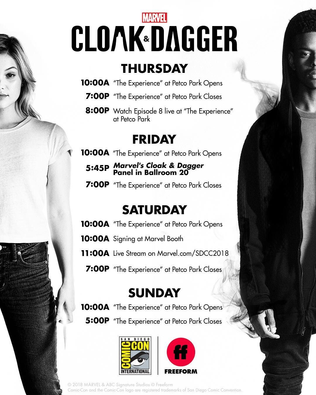 Marvel S Cloakanddagger Is Taking Over Comic Con It All Begins Tomorrow You Ready Cloakanddaggersdcc Marvel Freeform Tv Shows Comic Con Cloak Dagger