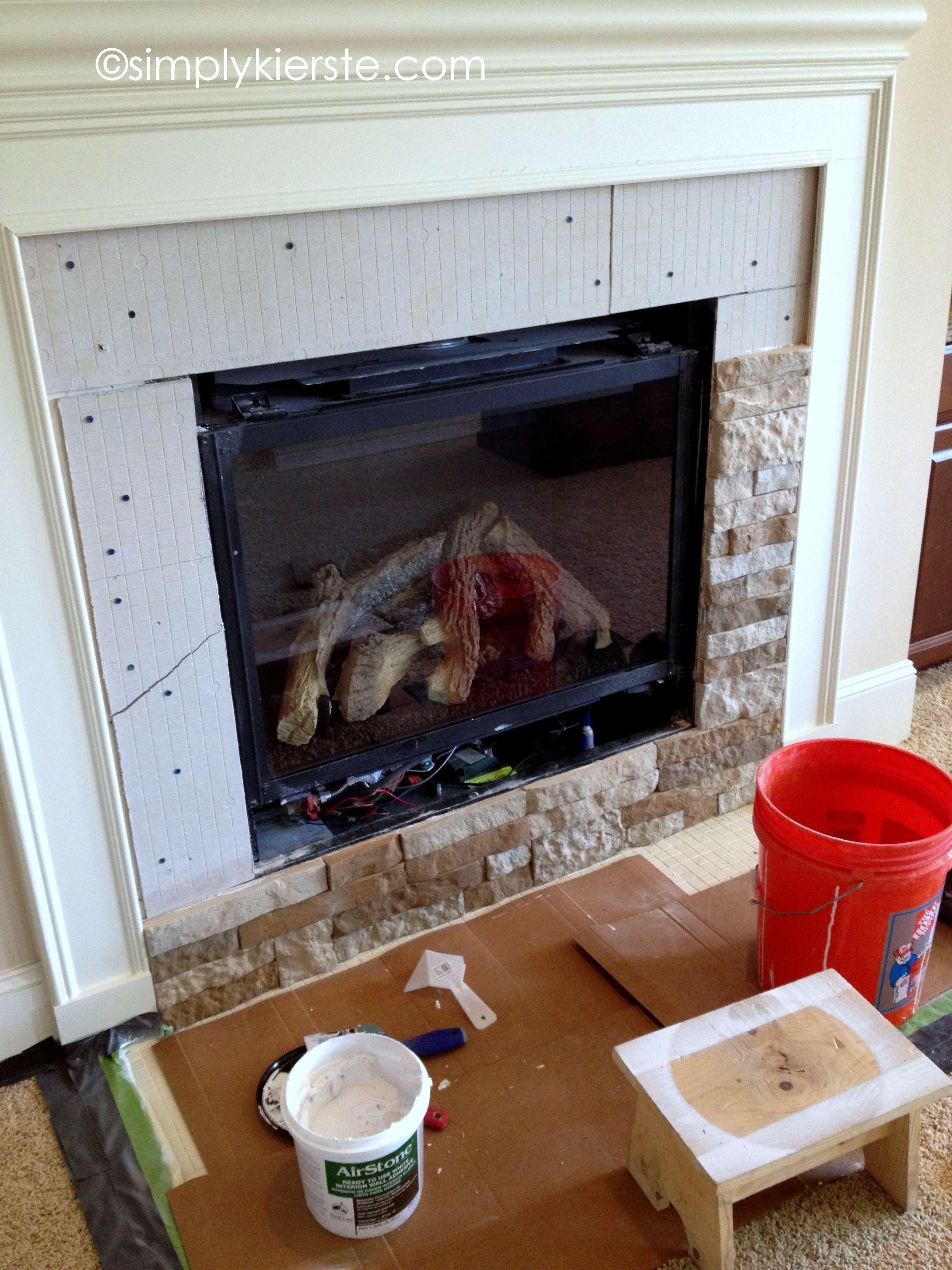 AirStone Fireplace Makeover. Done and done! Loved using the ...