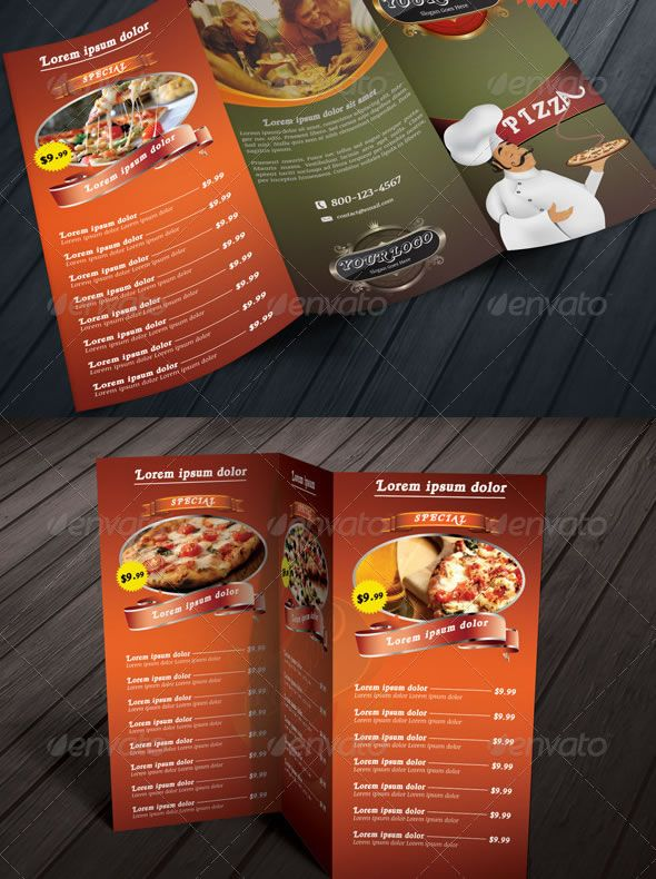 TriFold Restaurant Food Menu Template Bundle  Menu Designs