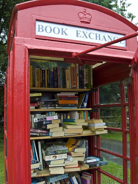 Lots of villages in the UK have turned red telephone boxes into mini libraries, just take a book and leave one behind, such a lovely idea