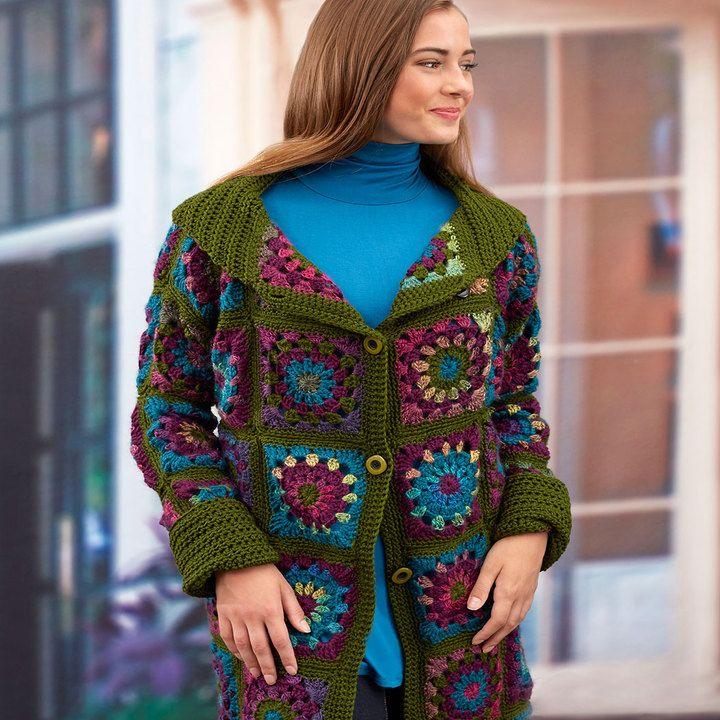 Sweater Coat In Grannies Red Heart Rg Pinterest Granny