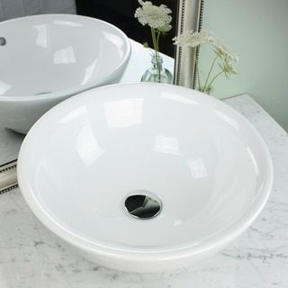 Highpoint Collection 17 Inch Round White Vessel Sink With Drain Combo |  Overstock.com Shopping