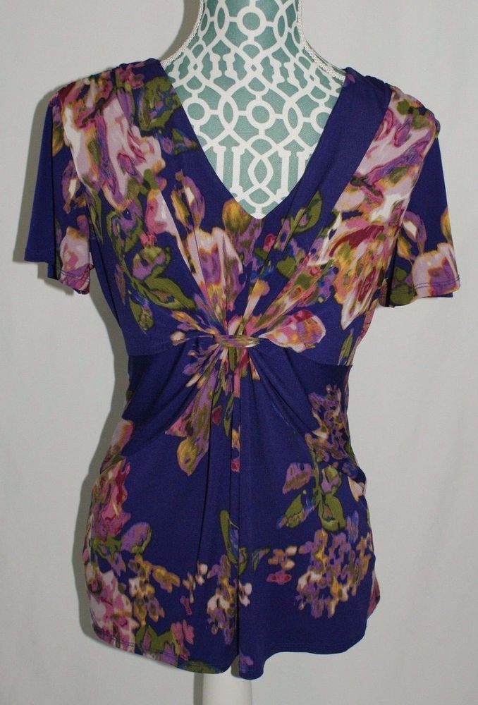 Daisy Fuentes short sleeve shirt purple floral womens size M #DaisyFuentes #Blouse #Casual