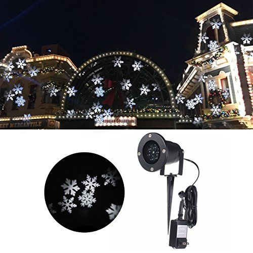 Jeteven Christmas Projector Lights Waterproof White Snowflake Led Light Outdoor For Xmas Holiday Party L With Images Christmas Projector Christmas Lights Patio Landscaping