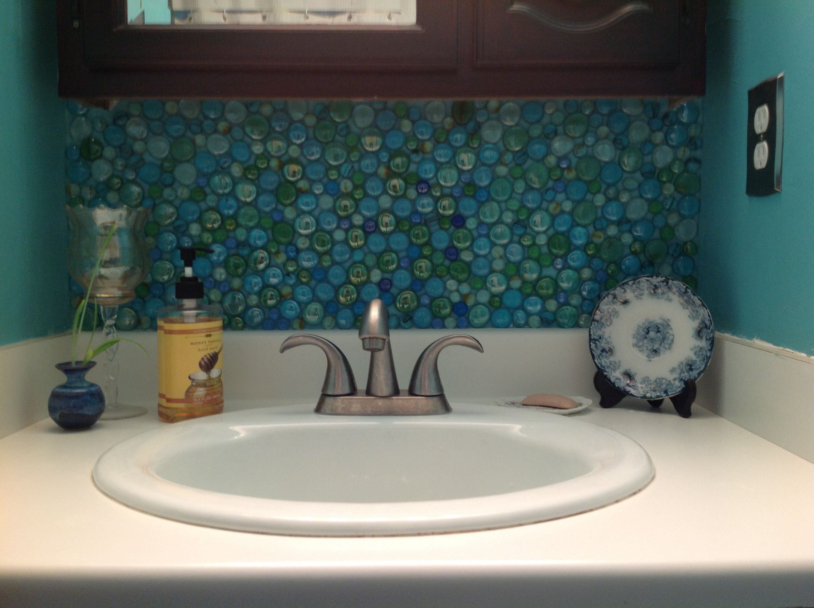 - Glass Beads From Dollar Store For Bathroom Back Splash! Bathroom