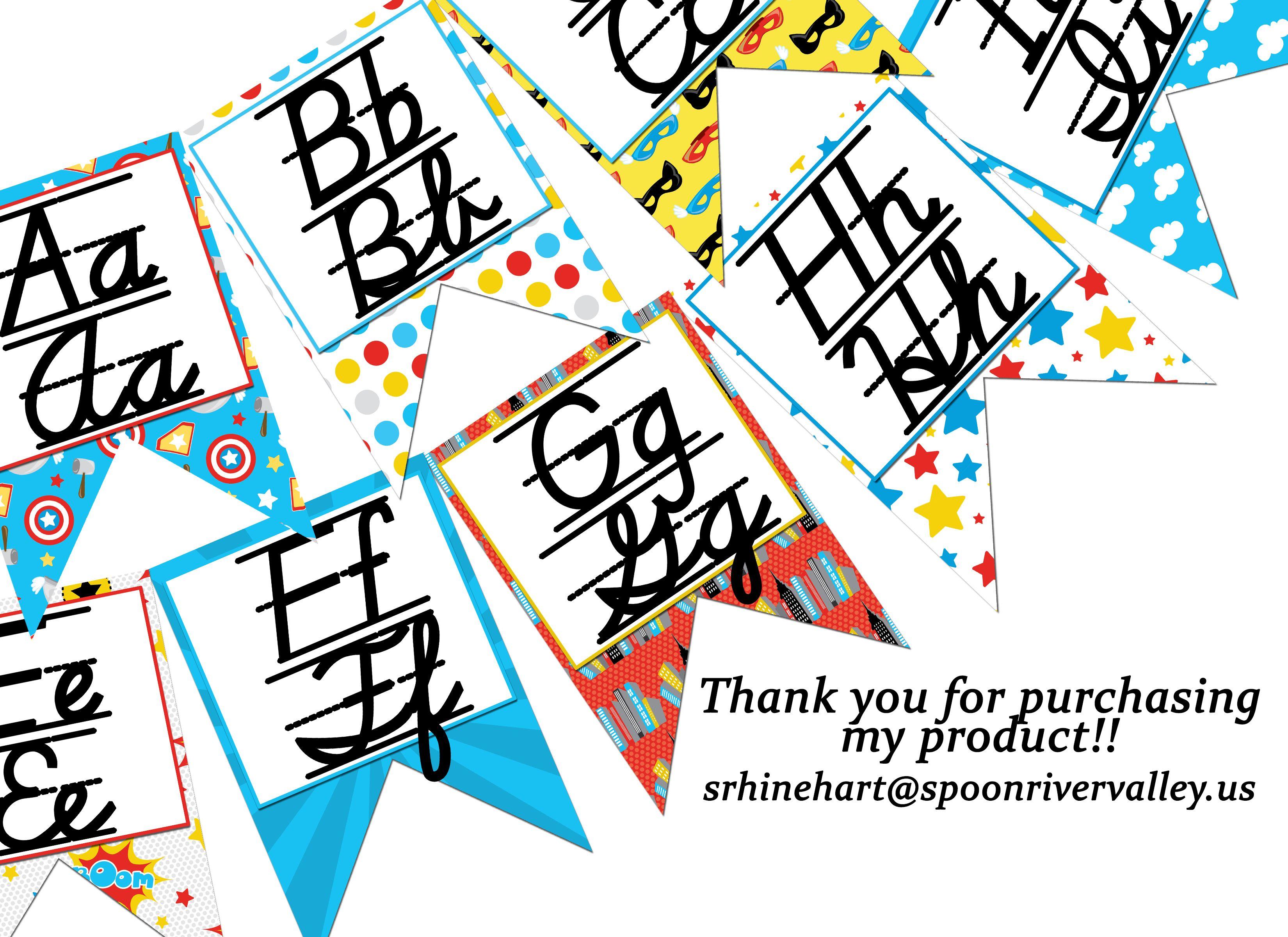 ROAD TRIP Alphabet Flag Banner handwriting A to Z D Nealian