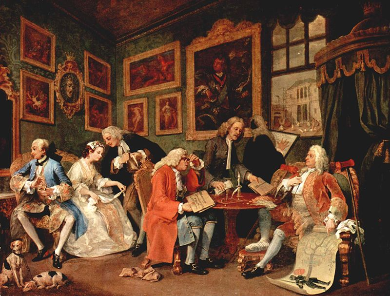 "En Busca de la Obra Perfecta. ""Matrimonio a la moda"". William Hogarth. Escuela satírica inglesa siglo XVIII. Óleo sobre lienzo. National Gallery."