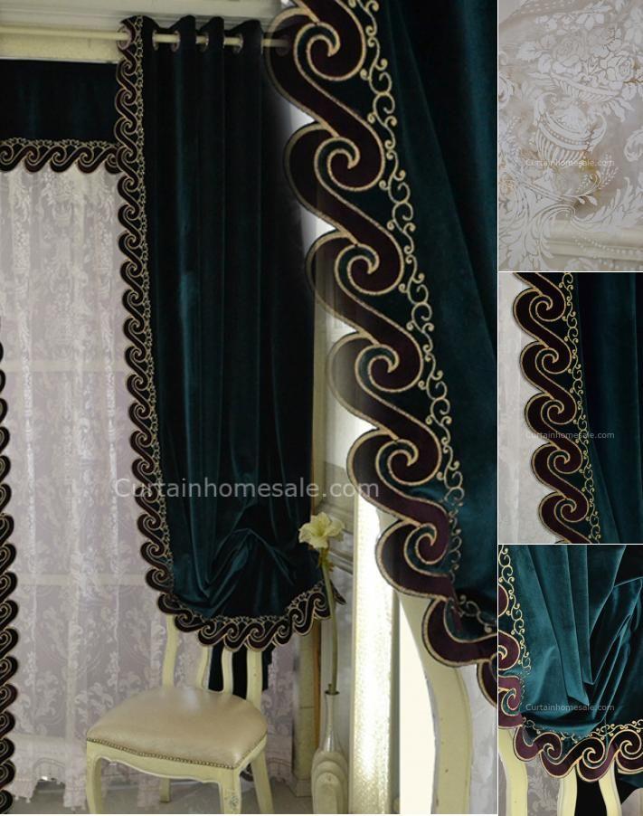 Dark Green Velvet Thick Fabric Noise Reducing Blackout Curtain
