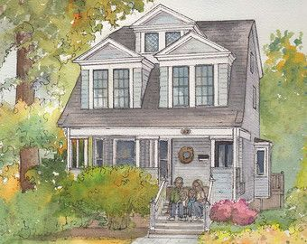 Have Me Draw A Custom Portrait Of Your House In Watercolor And Ink