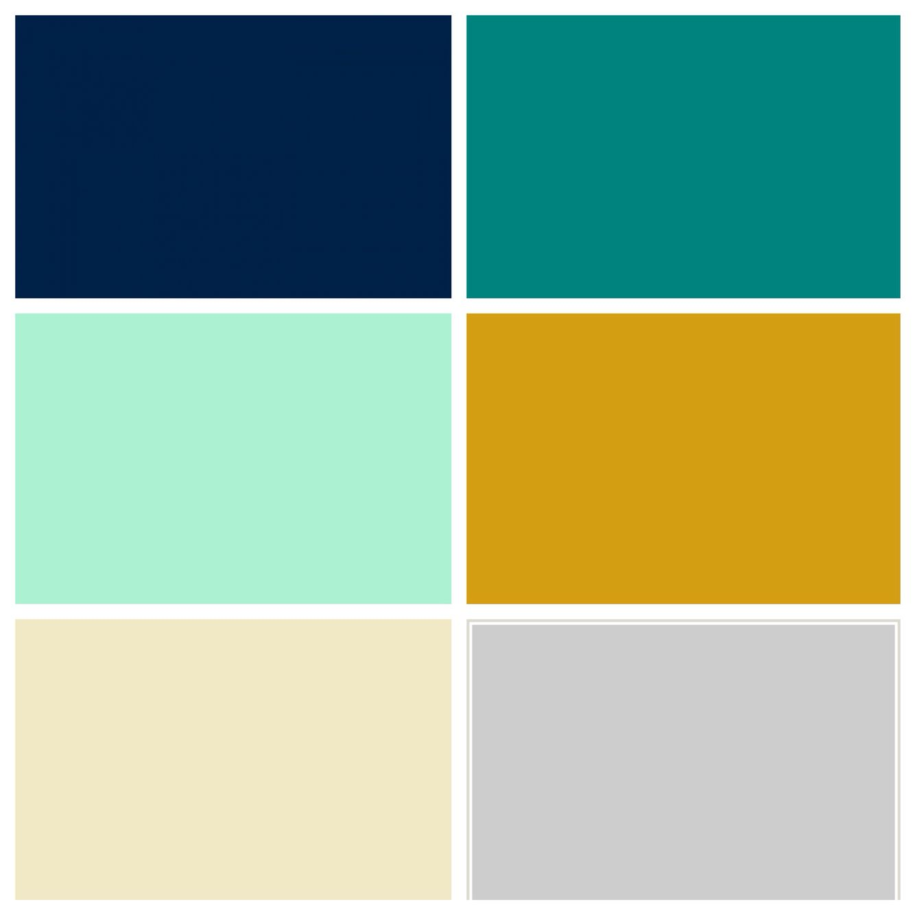 Nursery color pallet: navy, teal, mint, mustard, beige, light grey, and white
