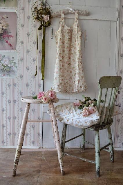 Shabby-chic chippy stool and chair