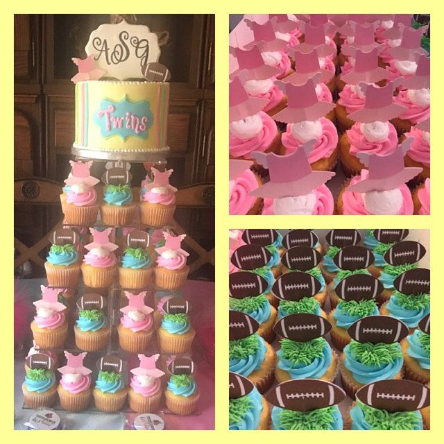 Touchdowns Or Tutus Cupcake Toppers Great For A Gender Reveal Gender Reveal Cupcakes Gender Reveal Dessert Tutu Cupcakes
