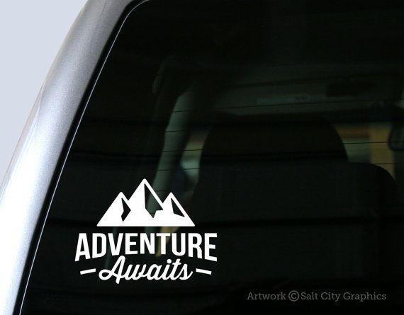 Adventure Awaits Sticker Vinyl Decal for Auto Cars Trucks Windshield Laptop RV Camper 4