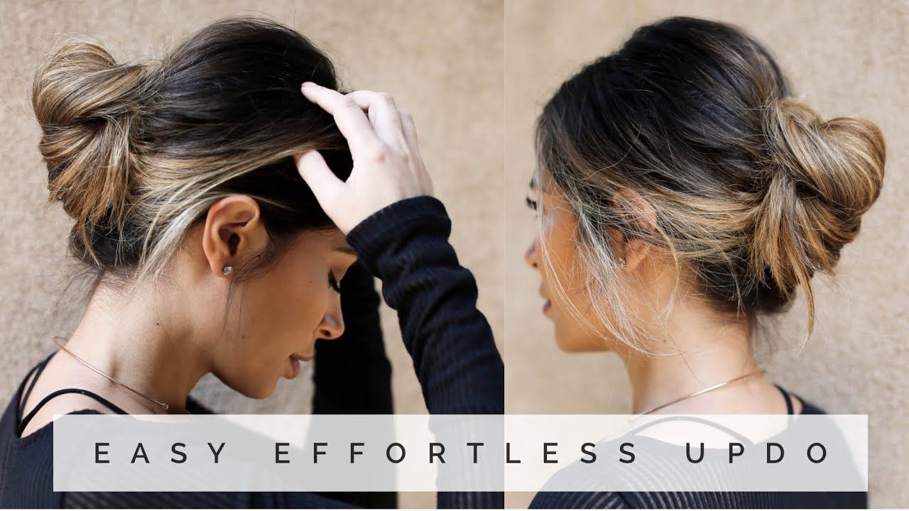 EASY EFFORTLESS UPDO - YouTube   Easy updo hairstyles, Updos, Updo hairstyles tutorials