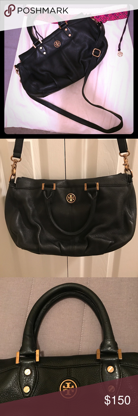 Tory Burch Black Crossbody Bag Authentic preowned Tory Burch black crossbody bag with adjustable strap. Exterior is in good condition. The inside has pen markings and does show some wear. Please look at photos. Comes with dust bag. Roughly...  Height: 8 inches, Width: 13.5 inches, Depth: 5 inches, Strap Drop: 5 inches Tory Burch Bags Crossbody Bags