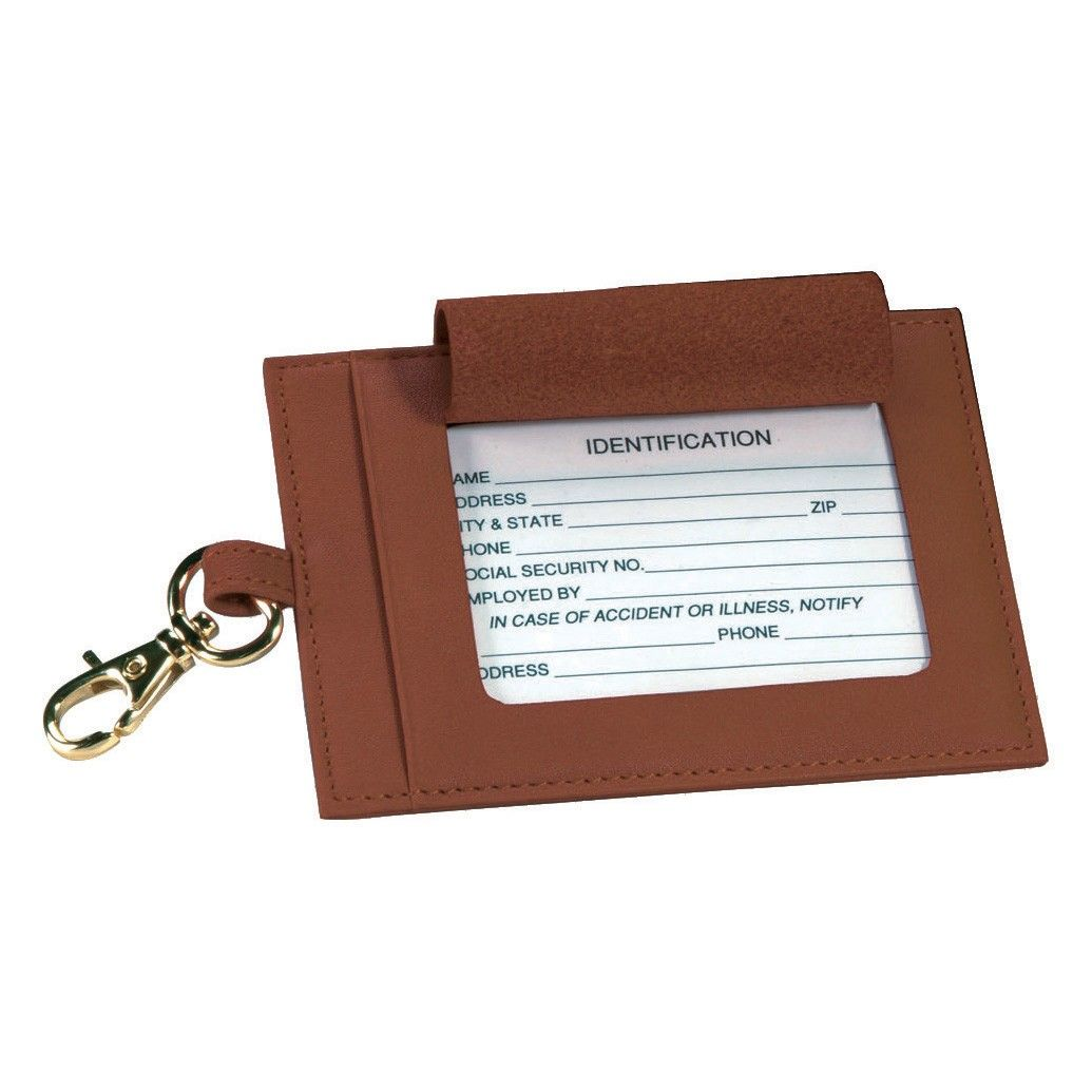 Royce Leather Full Grain Cowhide Snap Luggage Tag