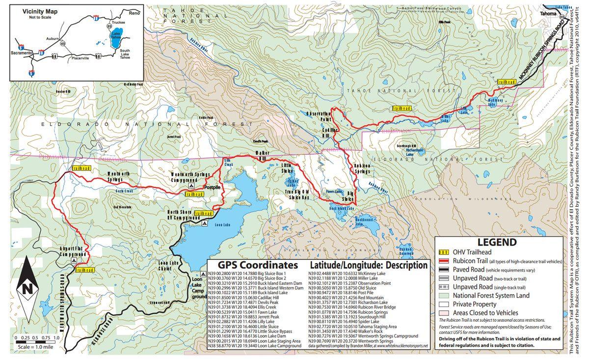 Rubicon Trail Map Rubicon Trail Rubicon Trail Maps