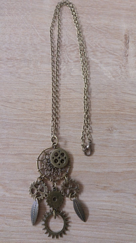 Collier Bronze Attrape Reve Steampunk Engrenage Et Feuilles