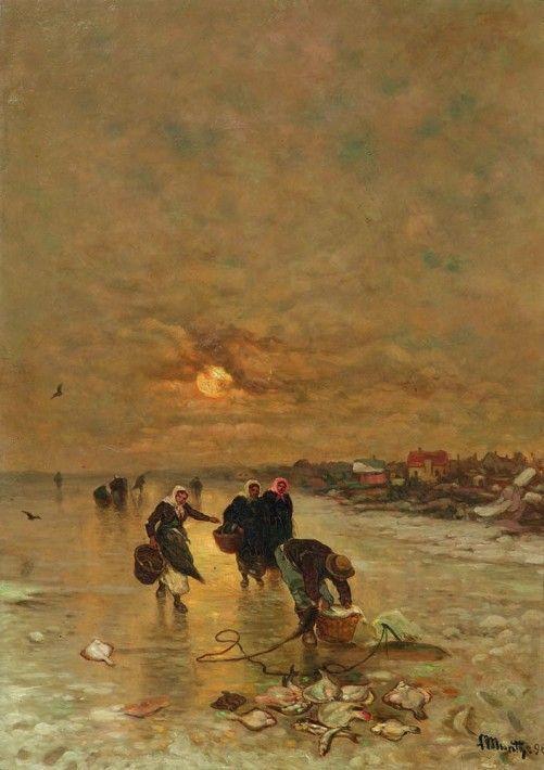 Ludwig Munthe (1841-1896), Winterlandschaft mit Fischersleuten