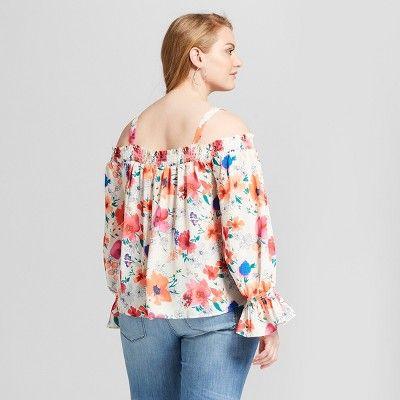 3f577843bbc Women s Plus Size Long Sleeve Floral Print Cold Shoulder Top - Ava   Viv  Cream 4X
