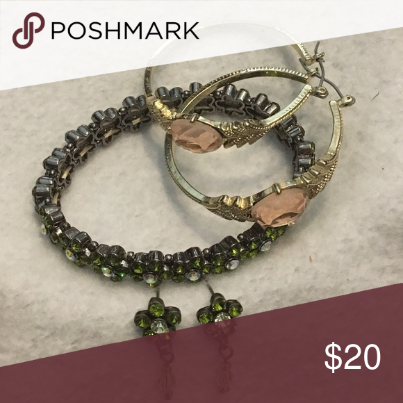 Peridot and Morganite costume jewelry Iridescent peridot green stretchy bracelet and matching post dangle earring set and a pair of Iridescent peach and gold hoop earrings. Jewelry Earrings