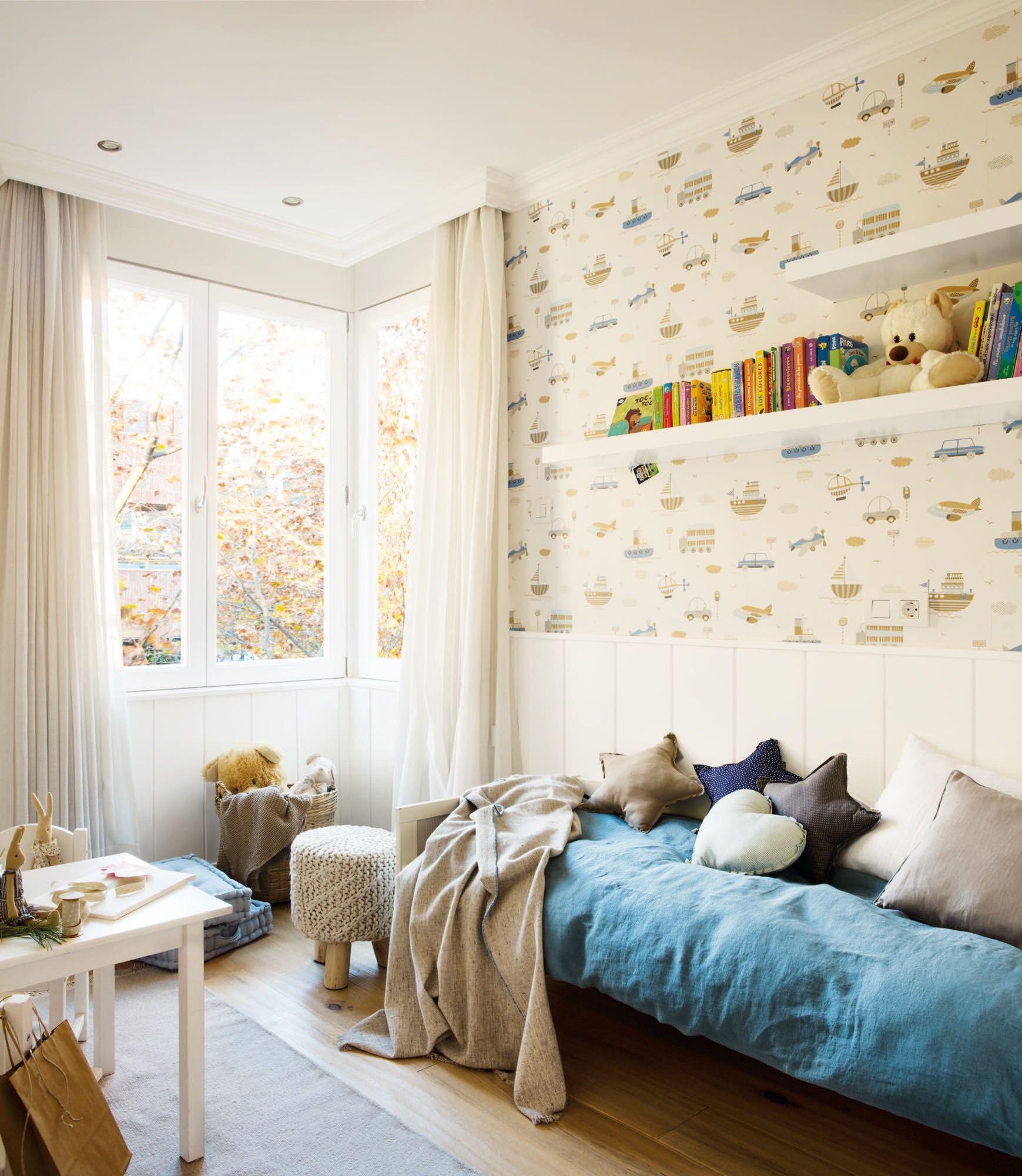 Pano625 626 Dormitorio Infantil Con Arrimadero Papel Pintado Y  ~ Decorar Muebles Con Papel Pintado