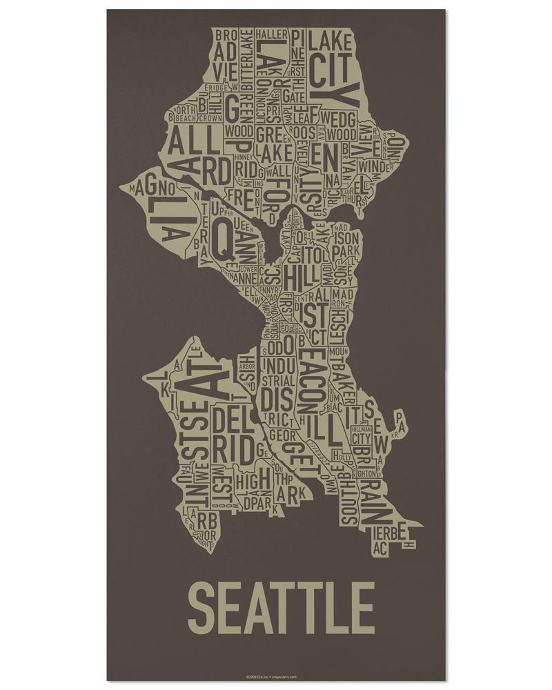 Seattle Typographic Neighborhood Map Poster Seattle map