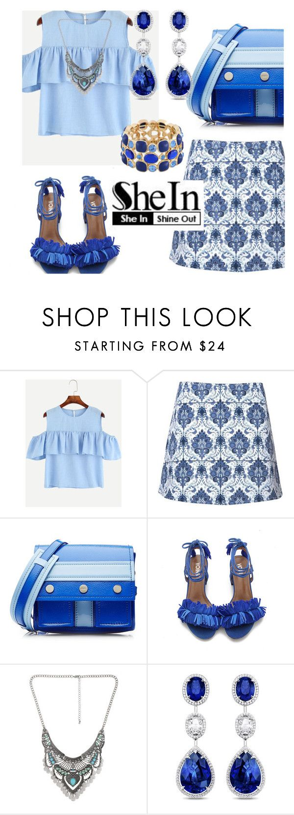 """""""SheIn Blue Cold Shoulder Top"""" by deborah-calton ❤ liked on Polyvore featuring Motel, Kenzo, Decree and Monet"""