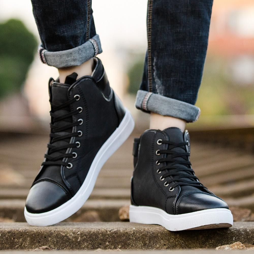 GoSkater High Pipe Shoes for Men is part of Shoes mens - Go extreme with the new GoSkater High Pipe Shoes for Men  Skateboarding shoes featuring sweat absorbent, antislippery, hardwearing, encapsulated, light and balanced  Made with cotton fabric and PU, with laceup and insone in rubber
