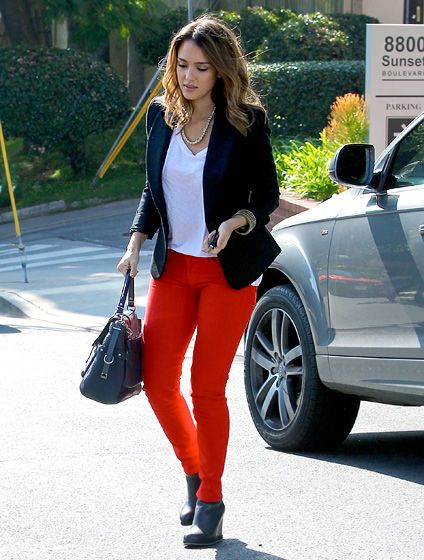 5 Ways to Wear Red Jeans   Black blazers, Denim outfit and Colored ...
