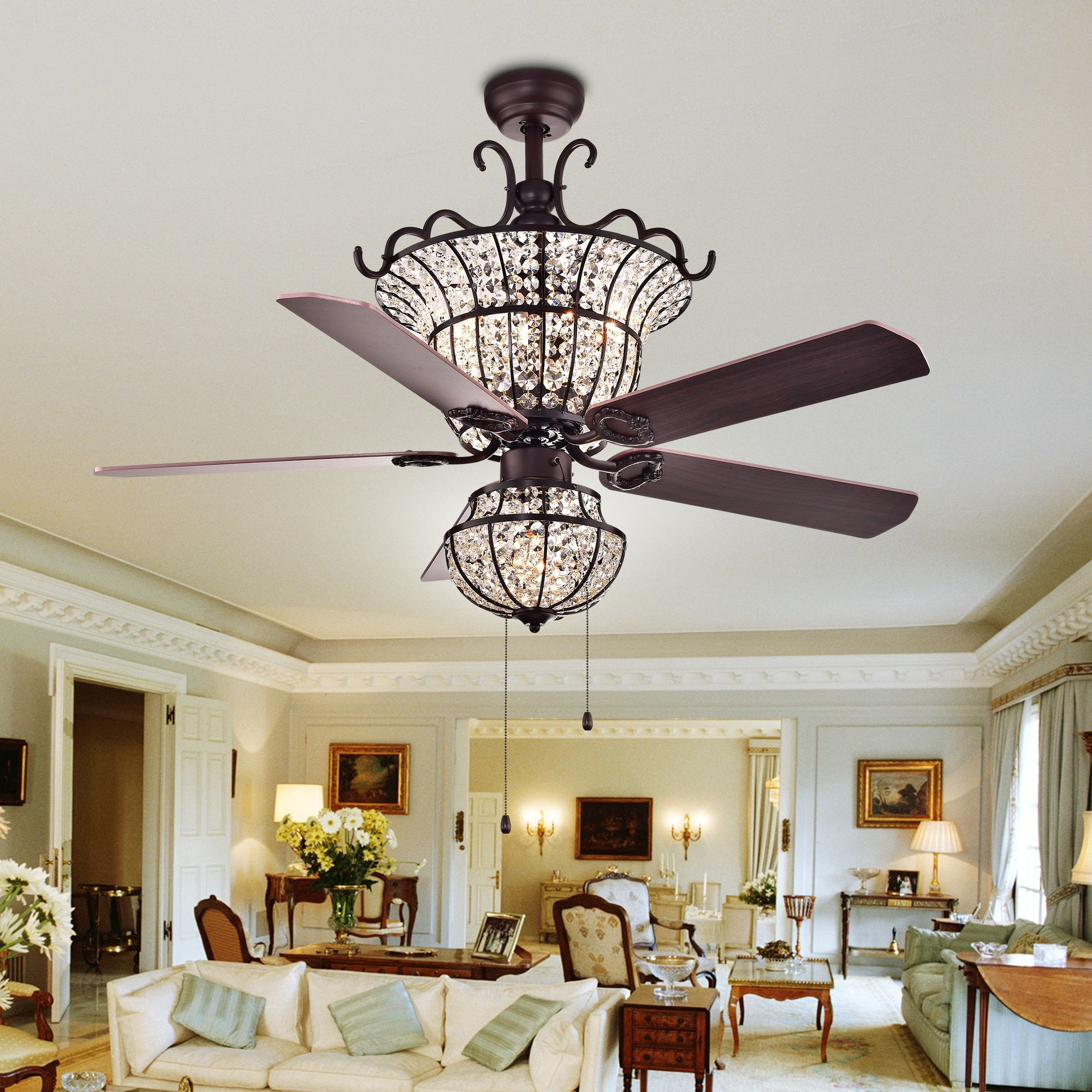 Warehouse Of Tiffany Charla 4 Light Crystal 52 Inch Chandelier Ceiling Fan