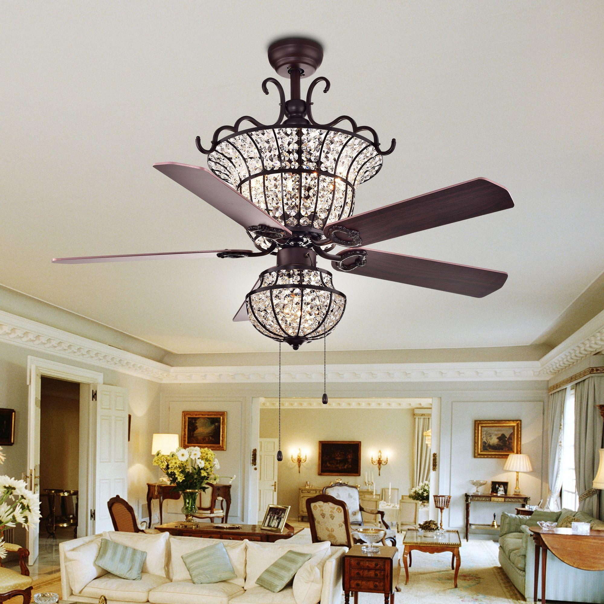 Warehouse Of Tiffany Charla 4 Light Crystal 52 Inch Chandelier Ceiling Fan