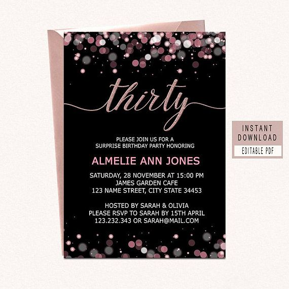 30th Birthday Invitations For Women Thirty Invite Instant Dow