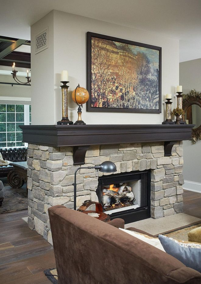 Double Sided Fireplace Classic Family Home With Paint Colors