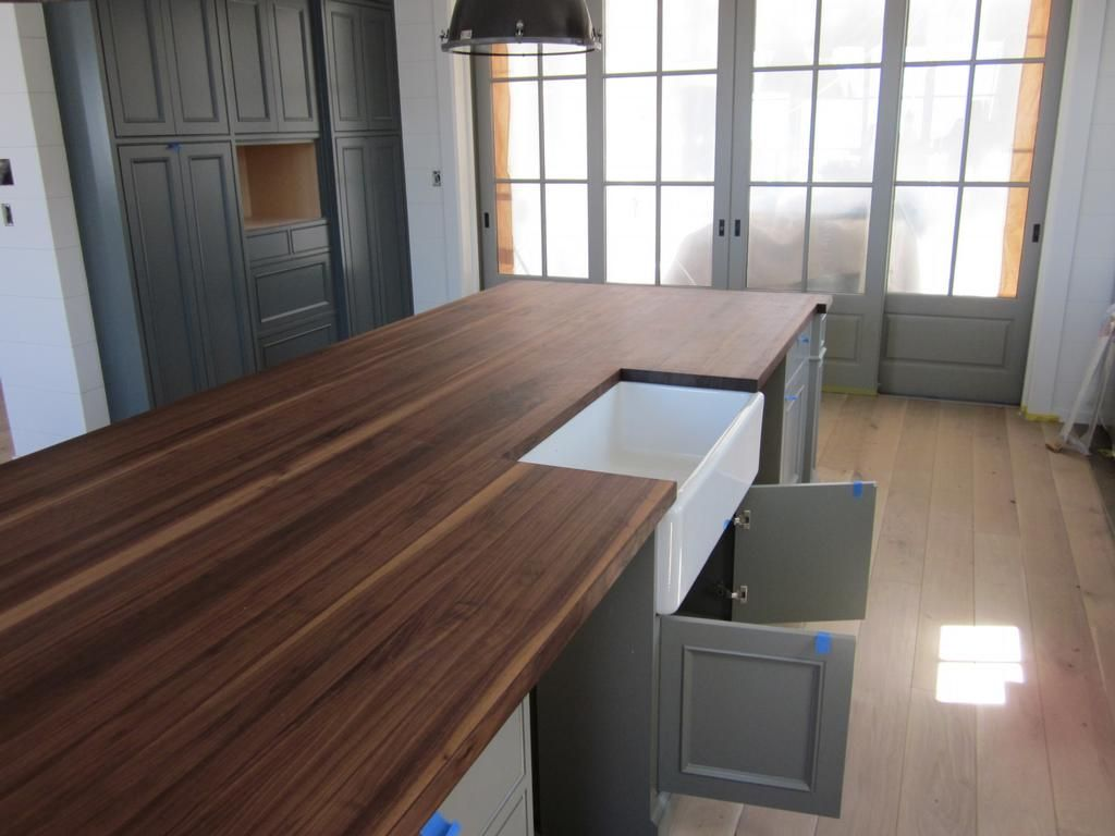 Best Walnut Butcher Block Island Trendy Farmhouse Kitchen 400 x 300