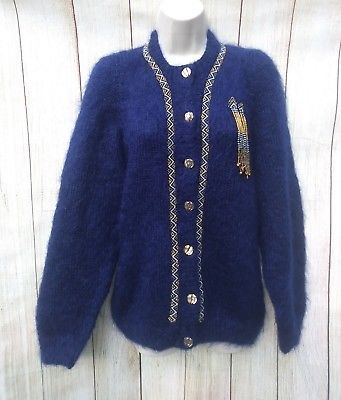 Soft Fuzzy Fluffy Angora Size XL Beaded Navy Blue Cardigan Sweater ...