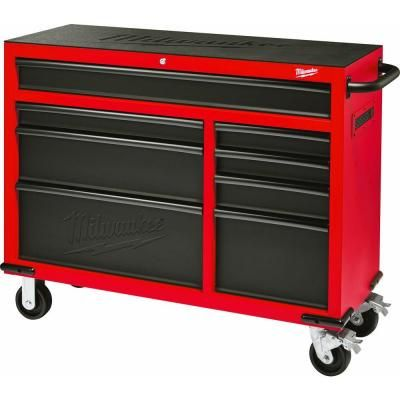Milwaukee 46 in. 8-Drawer Rolling Steel Storage Cabinet, Red and ...