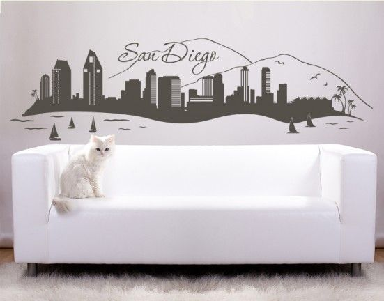 San Diego Skyline Wall Decal, Sticker.