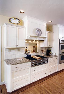 Country Kitchen ~custom Range Hood And Double Wall Oven. A Tile Niche Above
