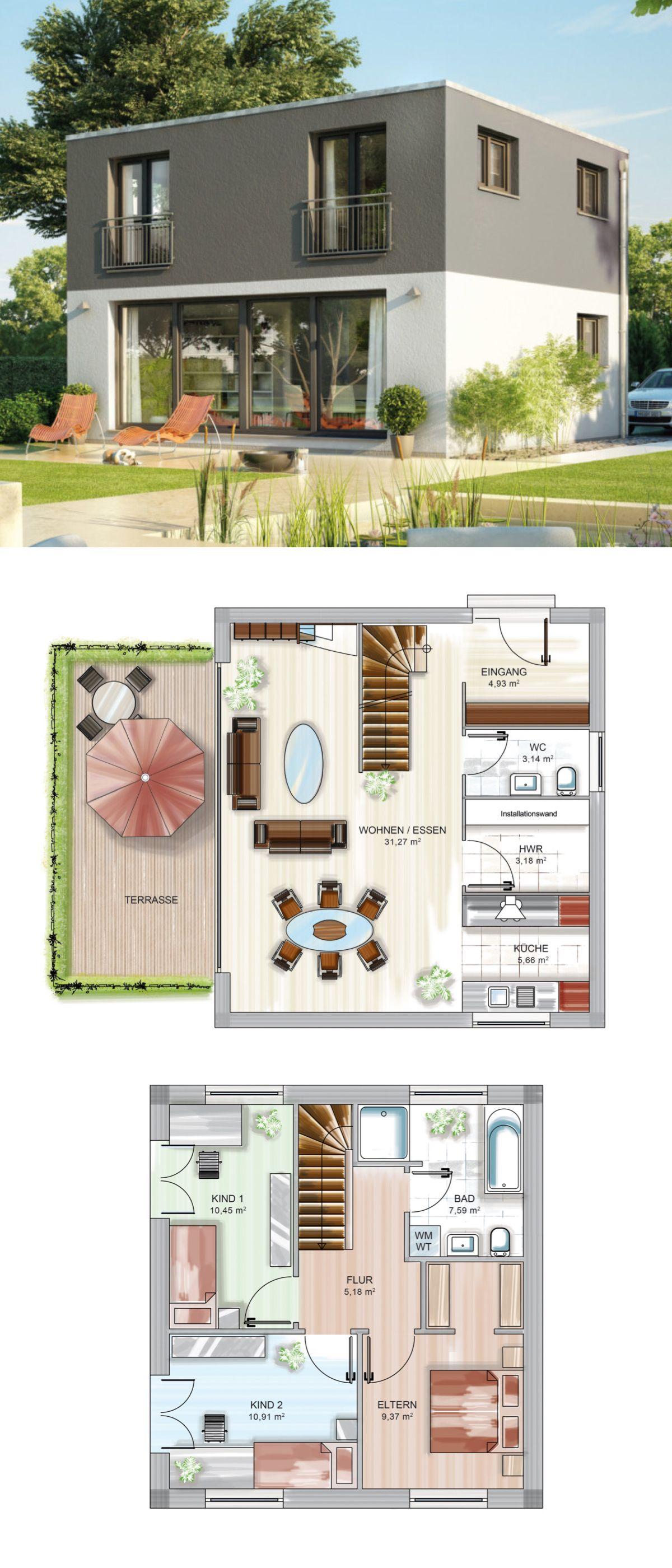 Einfamilienhaus modern mit Bauhaus-Architektur - Fertighaus ...