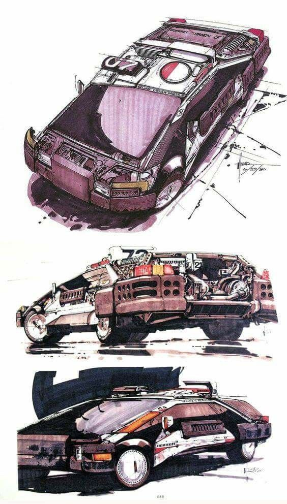 Blade Runner Spinner Concept Art by Syd Mead in 2019