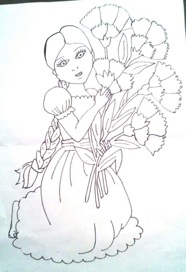 Indigena Con Flores Dibujos Pinturas Pintar En Tela